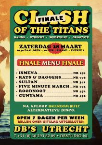 ** Uitgesteld vanwege Corona** nieuwe datum 9 mei! FINALE!!!! Clash of the Titans